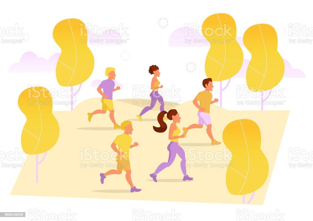 Runners in the Park. Vector royalty-free runners in the park vector stock vector art & more images of adult