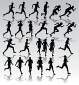 """Runners, Joggers, Sprinters - Male and Female. 24 graphic silhouette illustrations of male and female Runners, Joggers, Sprinters. use for track and Field or Fitness. Scale to any size. Color changes a snap. Check out my """"Fitness, Exercise & Running"""" light box for more."""