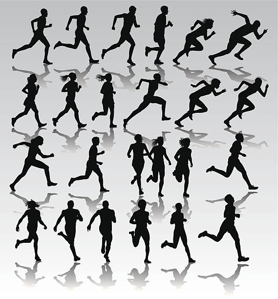 Runners, Joggers, Sprinters - Male and Female vector art illustration