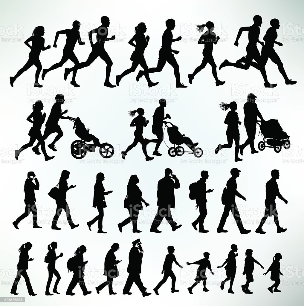 Runners, Joggers, Walkers, Exercise, Fitness vector art illustration