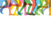 Colourful silhouettes of runners legs. Best in rgb uses transparencies. CS5 and CS3 versions in zip.