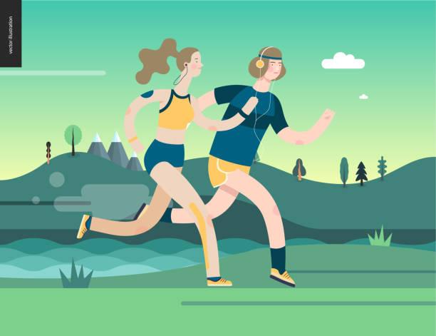 bildbanksillustrationer, clip art samt tecknat material och ikoner med löpare - man och kvinna som utövar - jogging hill