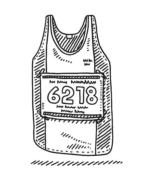 Runners Shirt Starting Number Drawing Hand-drawn vector drawing of a Runners Shirt with a Starting Number. Black-and-White sketch on a transparent background (.eps-file). Included files are EPS (v10) and Hi-Res JPG. running stock illustrations