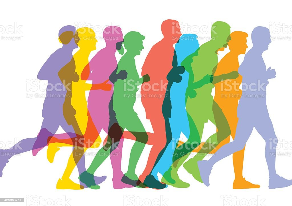 Runners sillhouettes vector art illustration