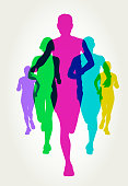 Colourful silhouettes of runners