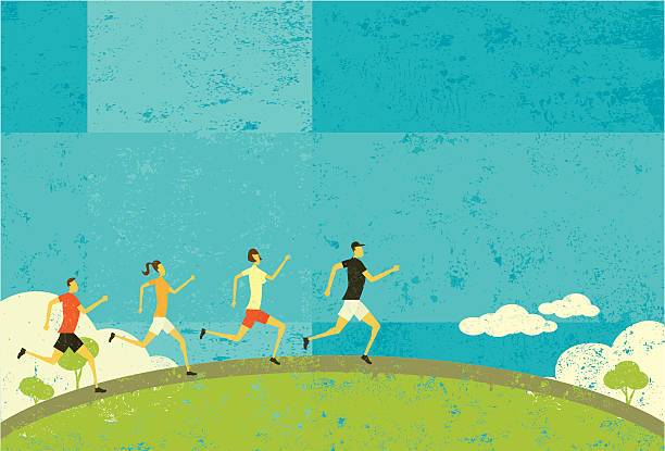 Runners People jogging over an abstract nature background. The people and background are on separate labeled layers. RETROROCKET stock illustrations