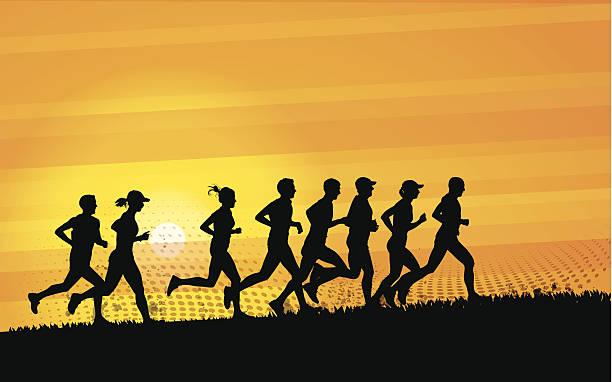 bildbanksillustrationer, clip art samt tecknat material och ikoner med runners - jogging hill