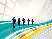 Runners - group of people running on the abstract background. EPS 10 with transparency and layers.