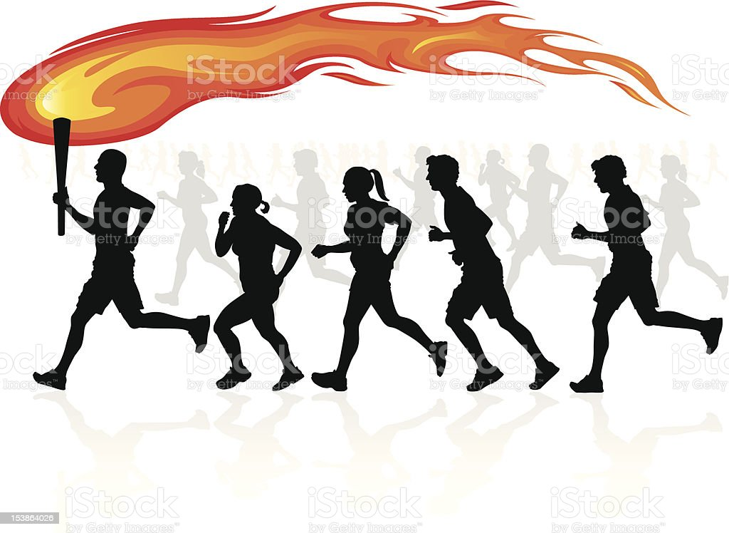 Runners with flaming torch. royalty-free stock vector art