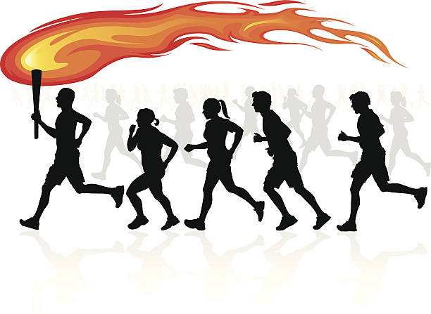 Runners with flaming torch. vector art illustration