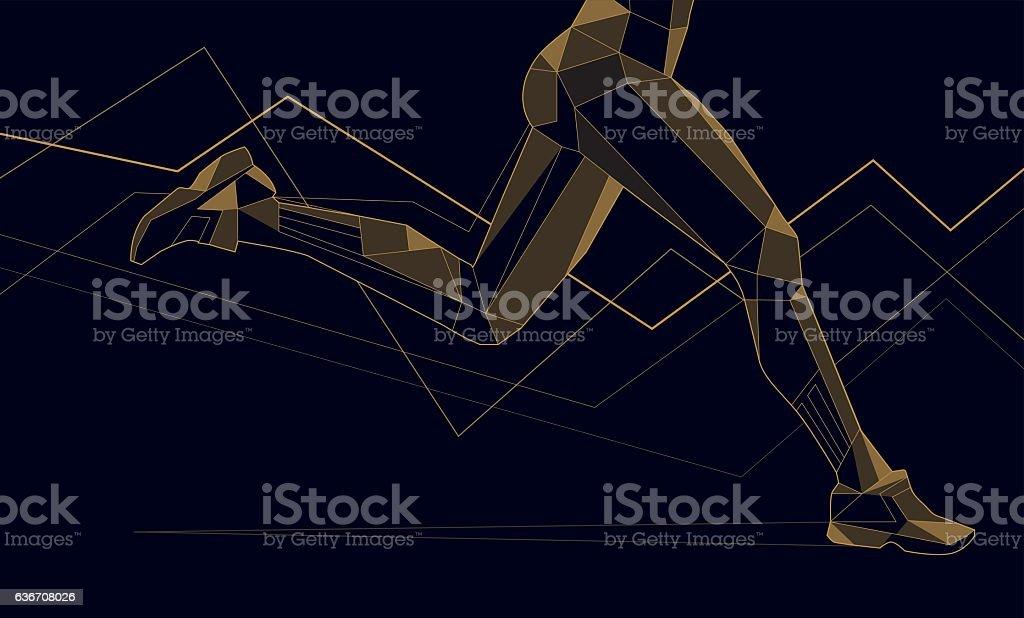 runner-triangles-line vector art illustration
