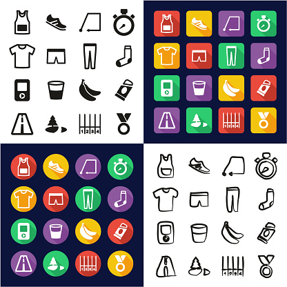 Running All in One Icons Black & White Color Flat Design Freehand Set