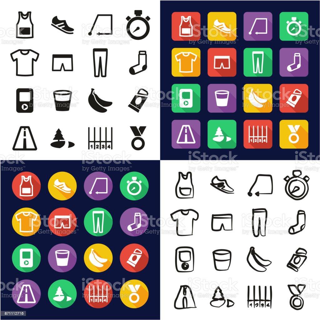 Laufen alle in einem Icons schwarz & White Farbe flache Design Freihand-Set – Vektorgrafik