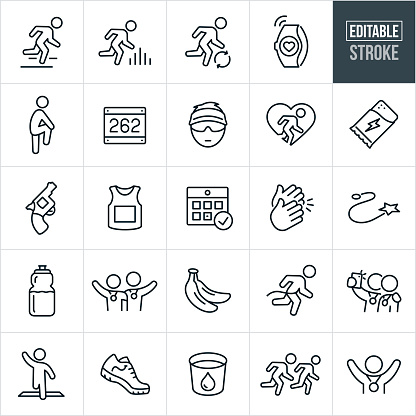 Running and Marathon Thin Line Icons - Editable Stroke