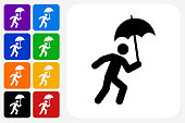 Running and Umbrella Icon Square Button Set. The icon is in black on a white square with rounded corners. The are eight alternative button options on the left in purple, blue, navy, green, orange, yellow, black and red colors. The icon is in white against these vibrant backgrounds. The illustration is flat and will work well both online and in print.