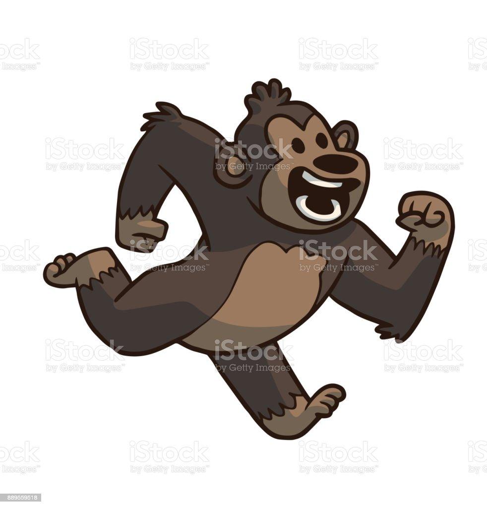 動物かわいい茶色のゴリラを実行 おもちゃのベクターアート素材や画像