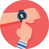 Runner touches on his smart watch to start a running tracker app probably to track his pace, hearth rate and burned calories