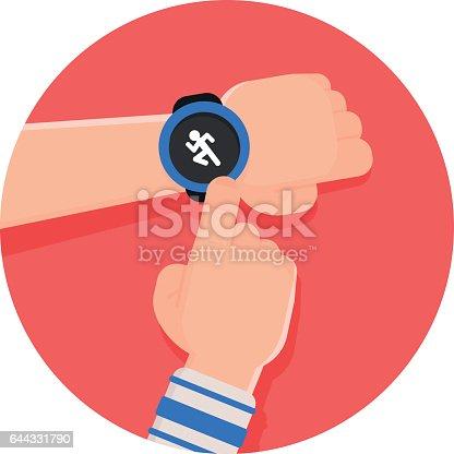 istock Running app on Smart watch 644331790