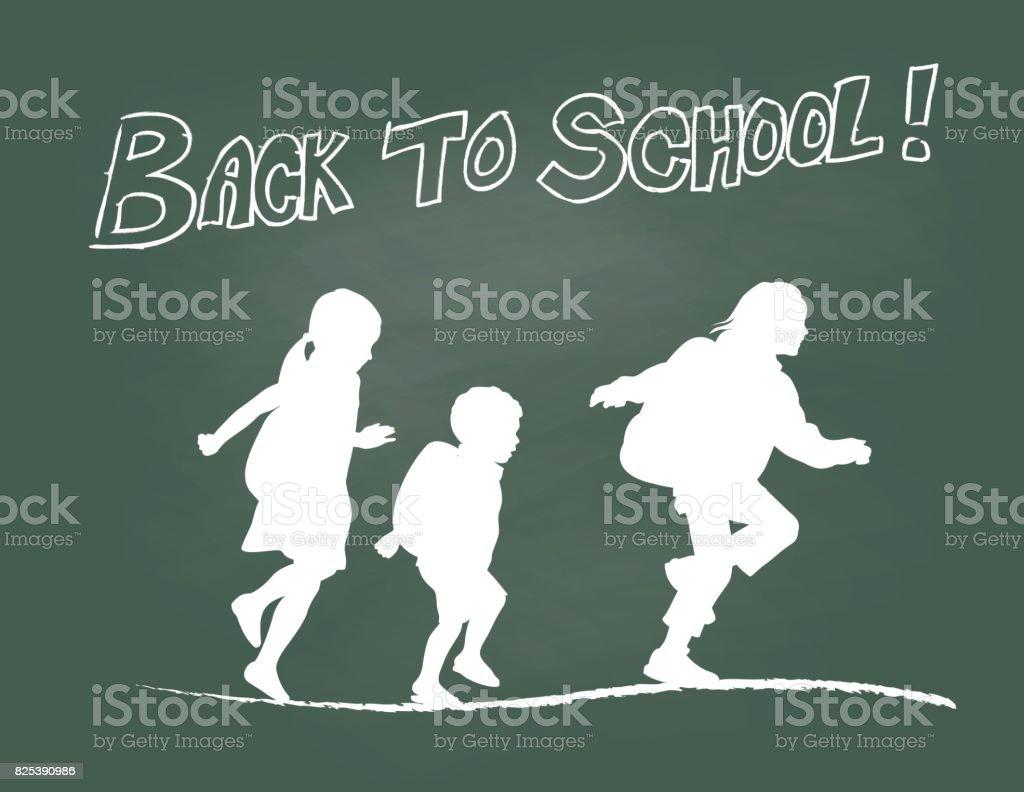 学校に戻るを実行 ベクターアートイラスト