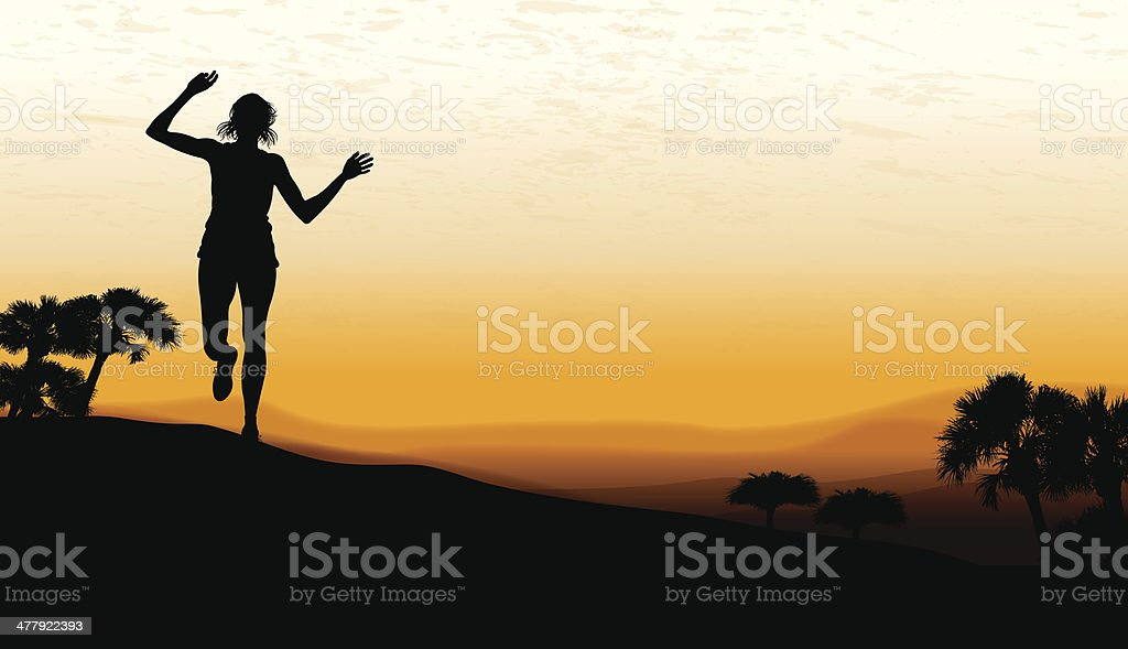 Running Background - Girls Victory royalty-free stock vector art
