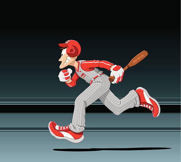 """Running Baseball Player """"Vector Illustration of a running baseball player. The background is on a separate layer, so you can use the illustration on your own background. The colors in the .eps-file are ready for print (CMYK). Included files: EPS (v8) and Hi-Res JPG."""" running stock illustrations"""