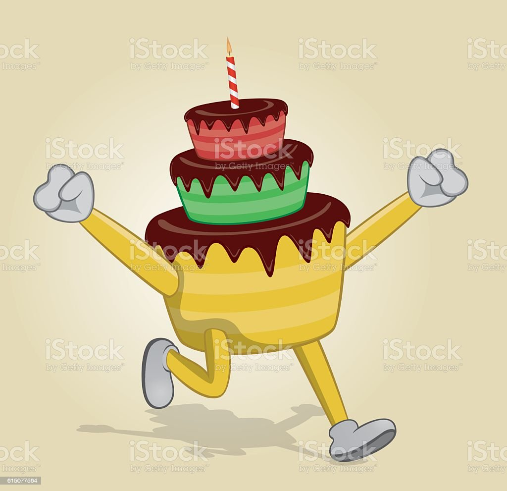 Fine Running Birthday Cake With Two Hands Up Stock Illustration Birthday Cards Printable Benkemecafe Filternl