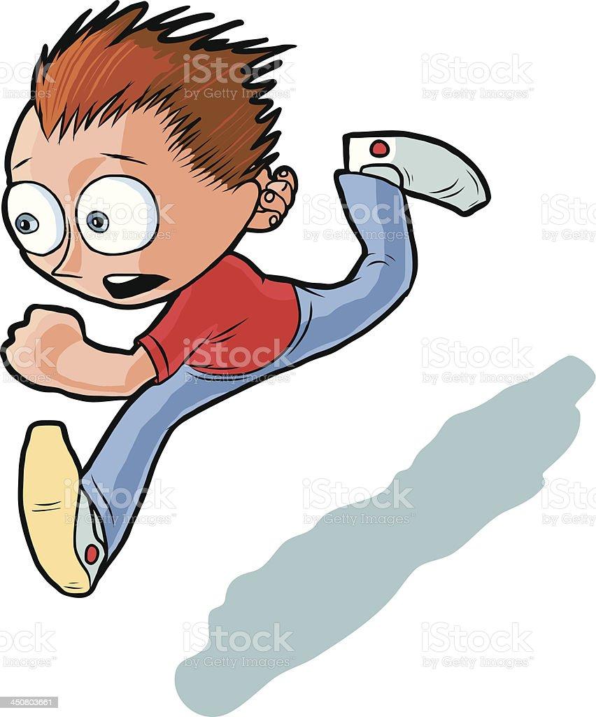 Running Boy Vector Cartoon royalty-free stock vector art