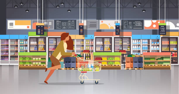 running business woman customer with shopping trolley cart busy female shopper buying products grocery market interior flat horizontal running business woman customer with shopping trolley cart busy female shopper buying products grocery market interior flat horizontal vector illustration grocery store stock illustrations