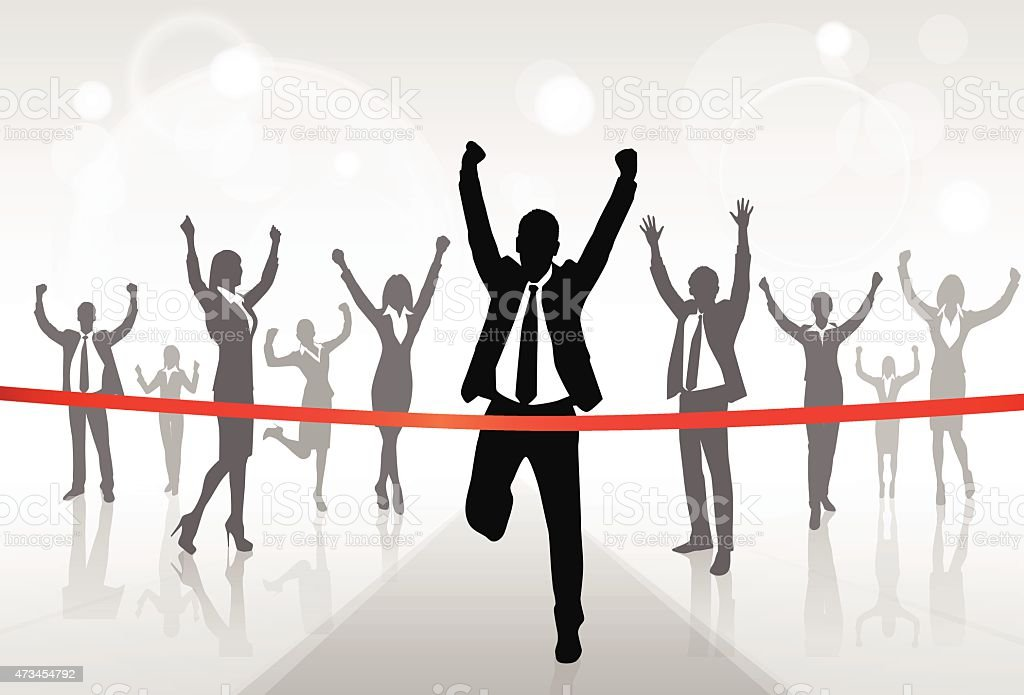 Running Businessman Crossing Finish Line Win Success vector art illustration
