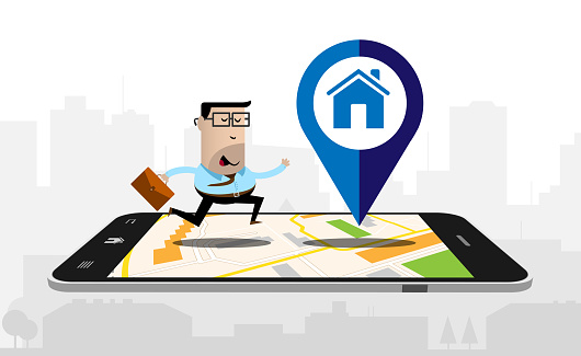 Running businessman on a smartphone with a map displayed