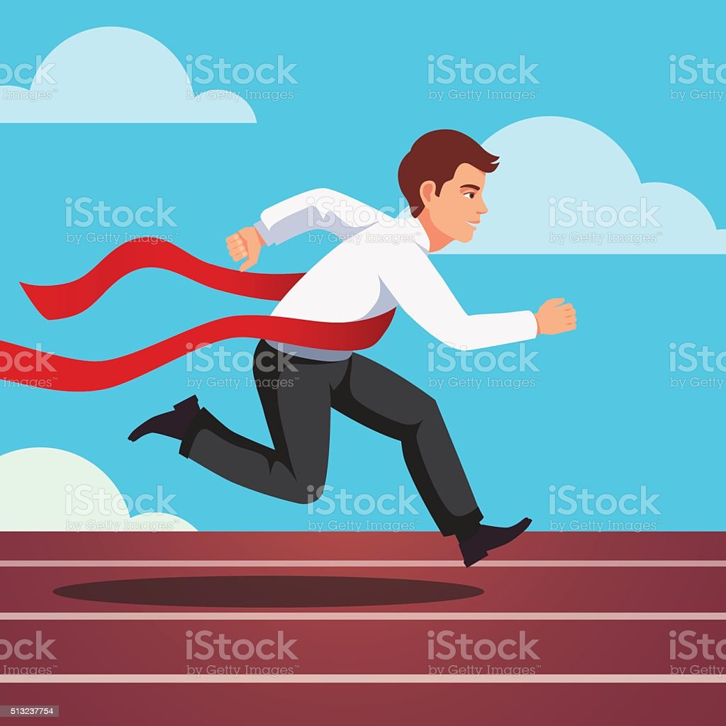 Running businessman winning a race vector art illustration