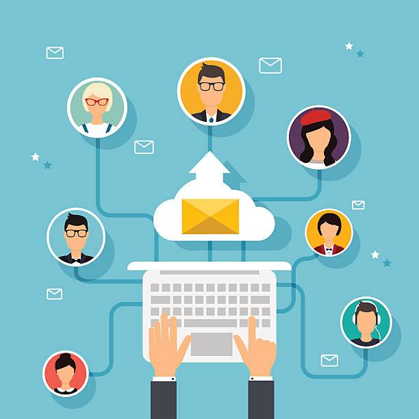 ilustraciones, imágenes clip art, dibujos animados e iconos de stock de corriendo campaña de publicidad directa por correo electrónico, mercadotecnia digital. e - lentes contacto