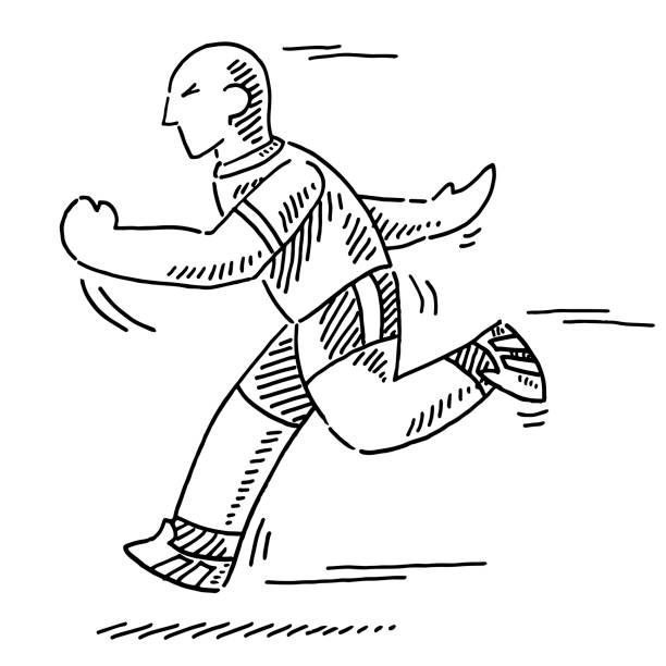 Running Cartoon Athlete Drawing Hand-drawn vector drawing of a Running Cartoon Athlete. Black-and-White sketch on a transparent background (.eps-file). Included files are EPS (v10) and Hi-Res JPG. running stock illustrations
