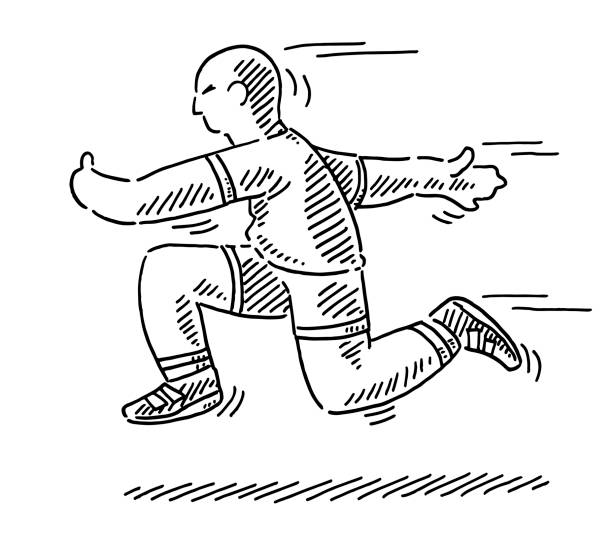 Running Cartoon Athlete Side View Drawing Hand-drawn vector drawing of a Running Cartoon Athlete Side View. Black-and-White sketch on a transparent background (.eps-file). Included files are EPS (v10) and Hi-Res JPG. running stock illustrations
