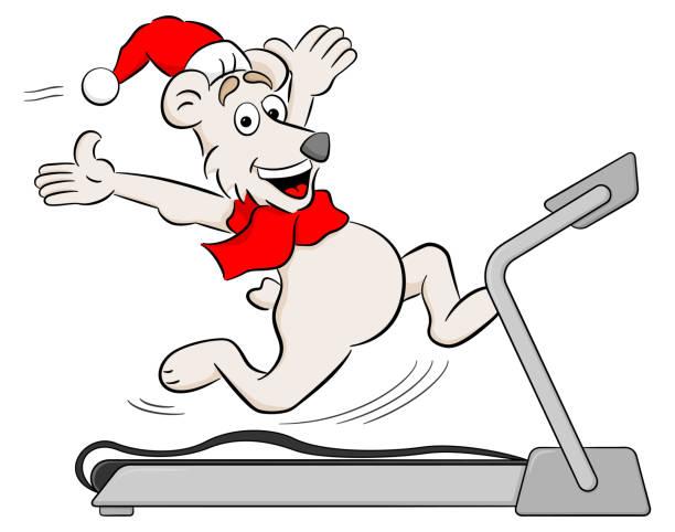 bildbanksillustrationer, clip art samt tecknat material och ikoner med kör tecknad jul isbjörn - gym skratt