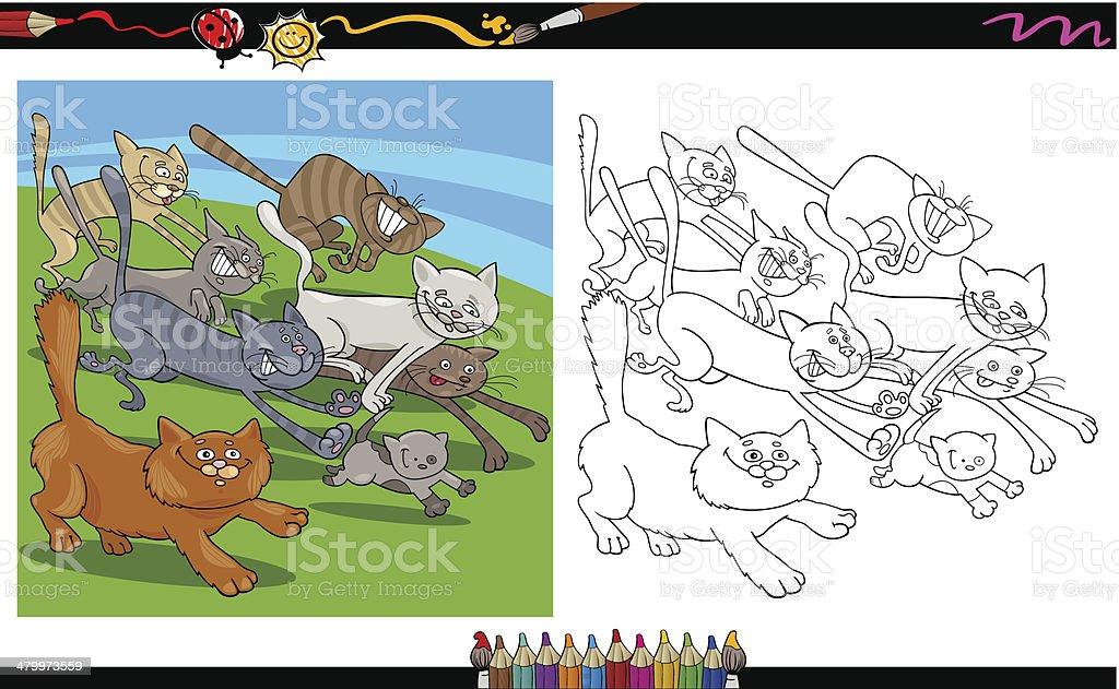 Ilustración De Gatos Página Para Colorear De Historieta Corriendo Y