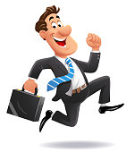 Running Cheerful Businessman
