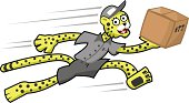 Running cheetah deliveryman with box cartoon fast delivery