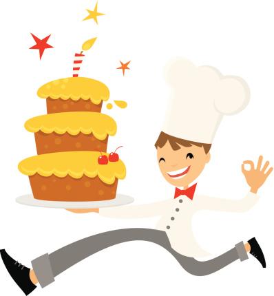 Running chef with cake