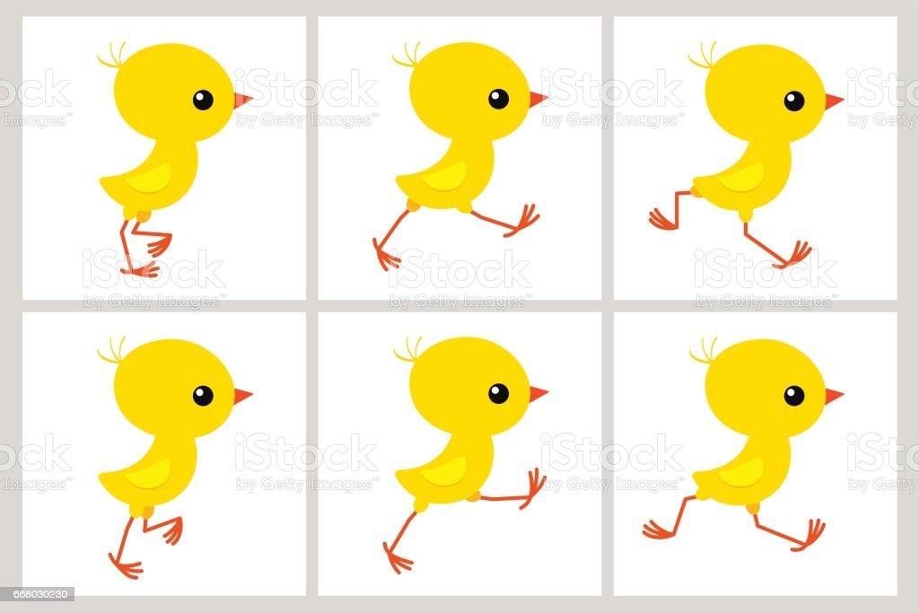 Running chicken animation sprite sheet isolated on white background vector art illustration