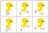 Running chicken animation sprite sheet isolated on white background