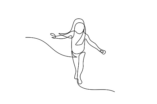 Little girl running in continuous line art drawing style. Front view of kid running carefully and balancing black linear sketch isolated on white background. Vector illustration