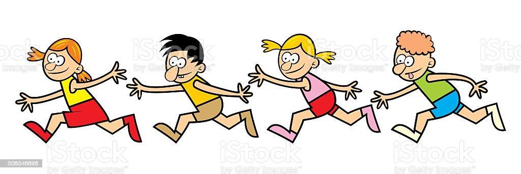 running children vector art illustration