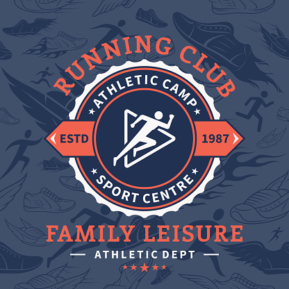 Running Club Label Template Over Running Shoes Seamless Pattern