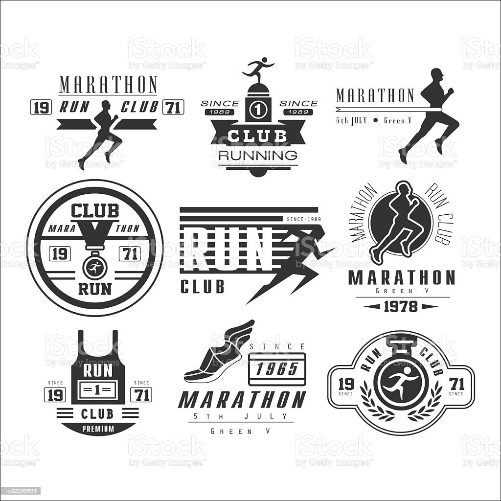 Running club labels, emblems and design elements vector vector art illustration