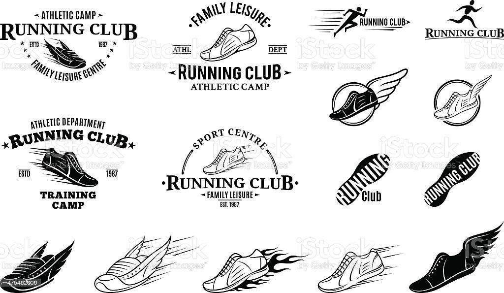 Corrida Club, etiquetas, ícones e elementos de Design - ilustração de arte em vetor