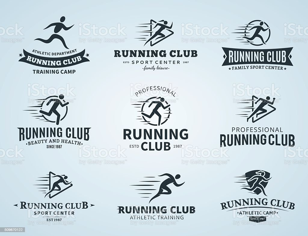 Running Club Labels, Icons and Design Elements vector art illustration