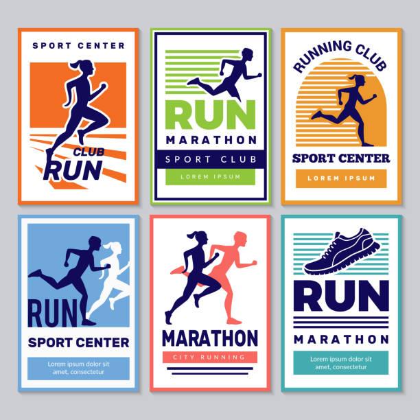 ilustrações de stock, clip art, desenhos animados e ícones de running club poster. marathon winners sportsmen athletes fitness for healthy people vector placard collection - running