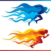 Vector illustration a Running Colorful Flames with a female and masculine figures with blue and red flames