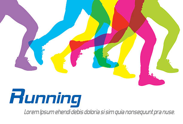 running colorful silhouettes - 달리기 stock illustrations